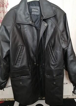 Kadın büyük beden siyah deri ceket