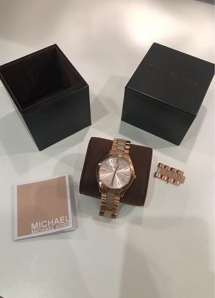 Michael Kors kasa, kadran ve kayis rose gold renkli, mineral cam