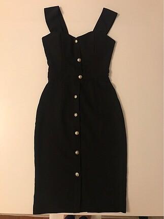 Düşmeli siyah kalem elbise