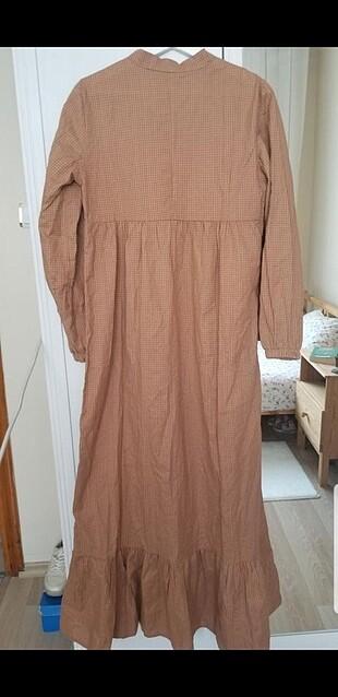 Markasız Ürün sütlü kahve kiremit pötikare elbise