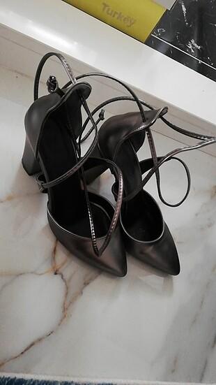 Kurşun renk bağmalı ayakkabı