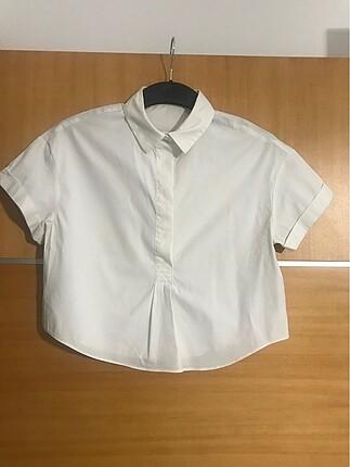 Crop boy beyaz gömlek