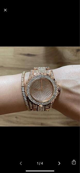 Rose Gold Metal Taşlı Saat