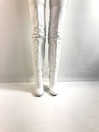 Beyaz Deri Çizme