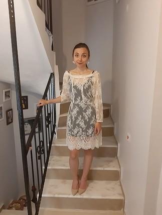 40 Beden beyaz elbise