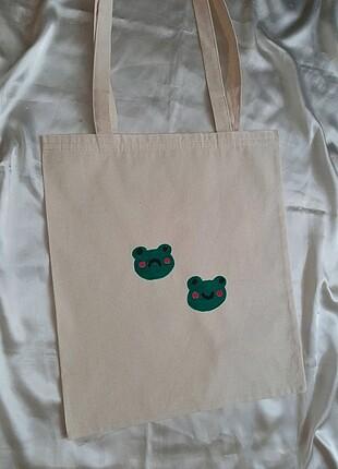 Beden Kurbağa Desenli Bez Çanta