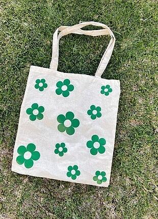 Yeşil Çiçekli Bez Çanta