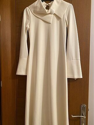36 beden krem rengi armine elbise