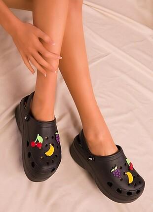 Siyah Crocs Kadın Sabo Terlik
