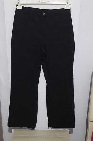 Siyah bol keten pantalon