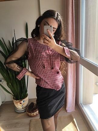 Zara tül kol detaylı bluz