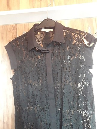 ipekyol İpekyol gömlek yaka dantel elbise