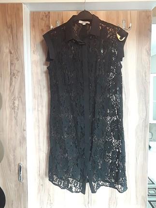 36 Beden siyah Renk İpekyol gömlek yaka dantel elbise