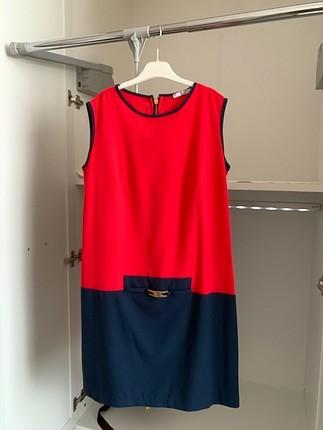 Kırmızı Lacivert Kısa İnce Elbise