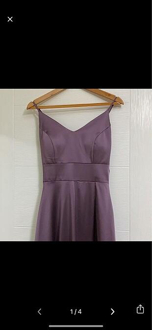 Saten Askılı Yırtmaçlı abiye elbise