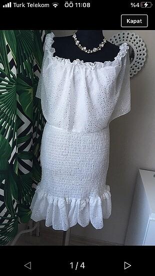 Fırfır detaylı büzgülü elbise
