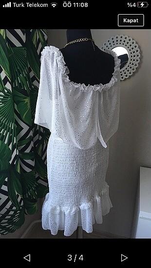 l Beden Fırfır detaylı büzgülü elbise
