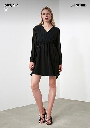 Trendyol & Milla Tül detaylı siyah şık elbise