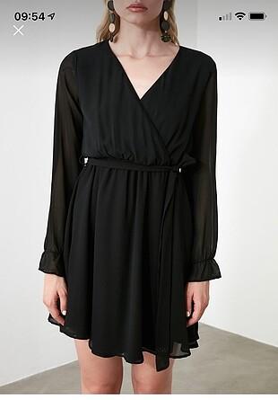 Tül detaylı siyah şık elbise