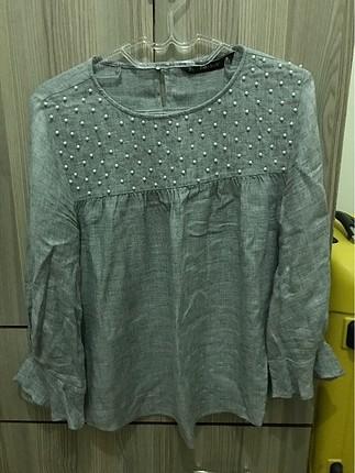 Zara inci işlemeli günlük bluz