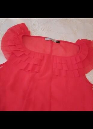 Kirmuzi şifon bluz