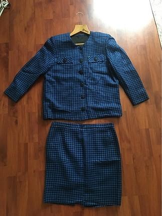 Kaz ayağı desenli etek ceket takım
