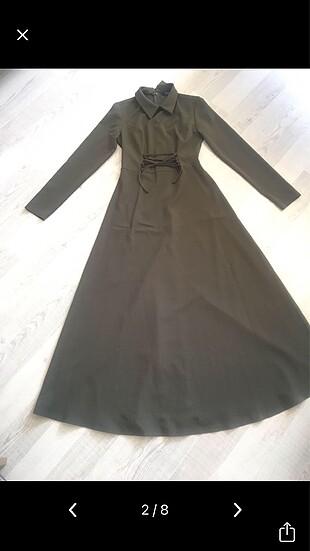 36 Beden haki Renk Refka Haki Tesettür Elbise