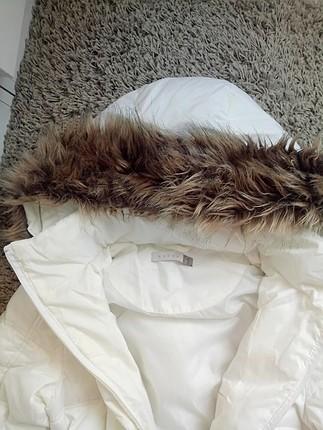 Koton Kürklü Beyaz Puf Şişme Palto