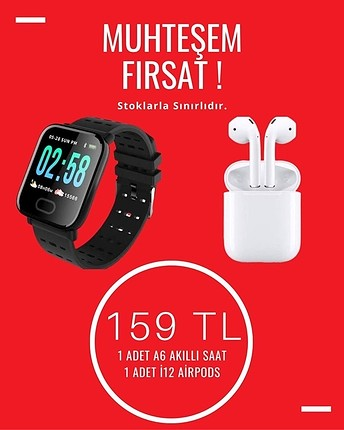 Akıllı Saat Smart Watch A6 + i12 AirPods Kulaklık