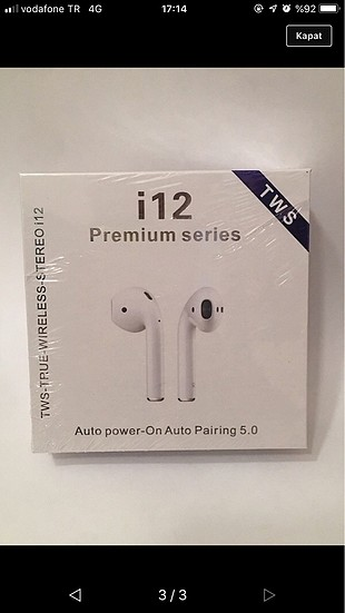 AirPods Kablosuz Bluetooth Kulaklık Beyaz (SIFIR)