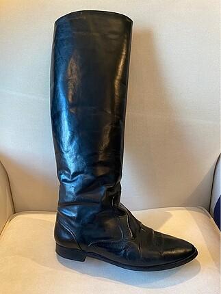 Manolo Blahnik siyah deri çizmeler