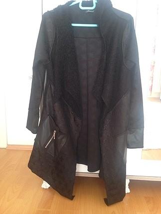 Kapşonlu baharlık deri görünümlü merserize ceket