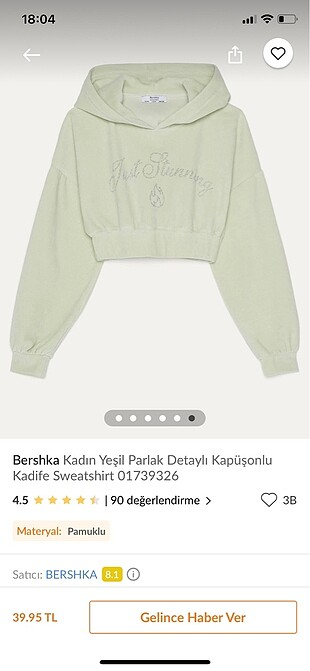 Bershka crop sweat