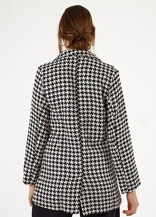 m Beden Kazayağı desenli ceket