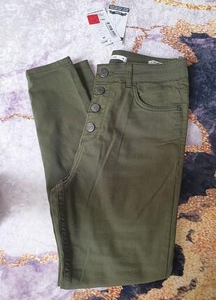 Haki renk yüksek bel pantolon