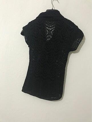s Beden siyah Renk Delikli dokuma şık bluz (hırka)
