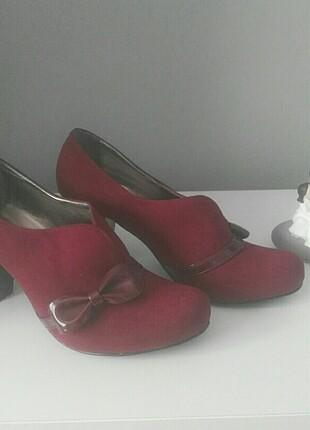 Bordo fiyonklu süet ayakkabı