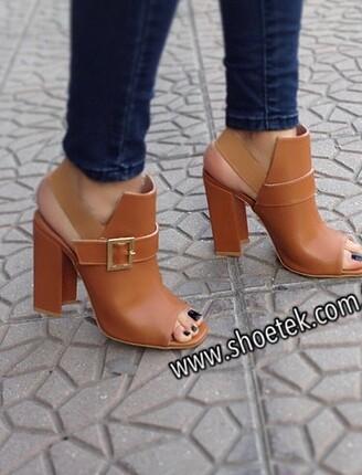 Kalın topuk bantlı ayakkabı