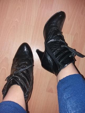 siyah ayakkabı fermuar lı