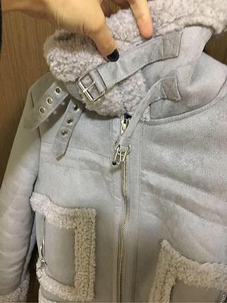 xs Beden gri Renk Bershka xs beden içi kürklü mont ceket
