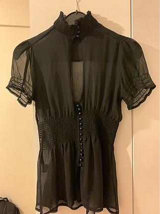 Kikiriki Transparan Siyah Bluz