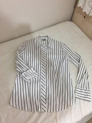 Oversiz çizgili gömlek