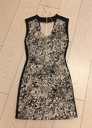 Mango zebra desen yanları şerit detay elbise