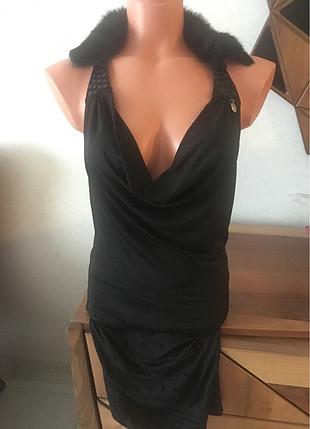 Waggon Paris yakası kürk detay elbise