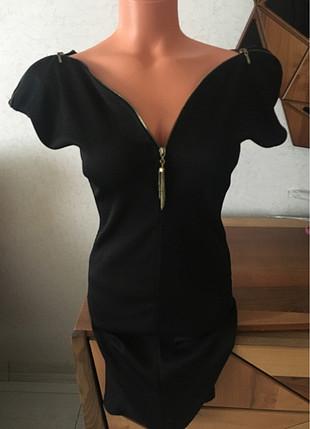 Fermuar detaylı mini elbise