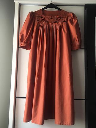 Vintage elbise, kiremit rengi