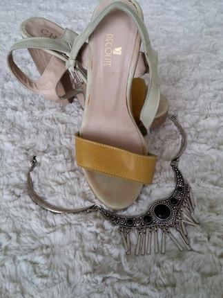 sari krem sandalet