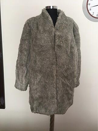 Açık gri suni kürk manto