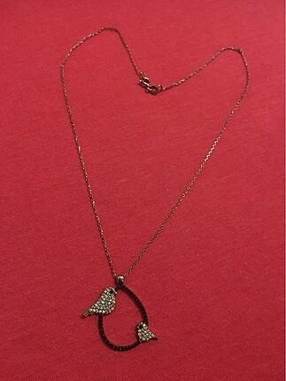 Kuşlu gümüş kolye