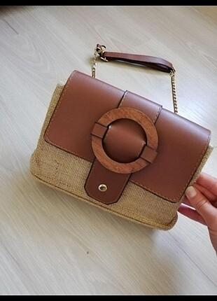 Hasır detaylı çanta